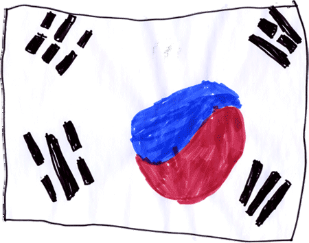 Flag of South Korea (Taegeukgi) drawn by Jack