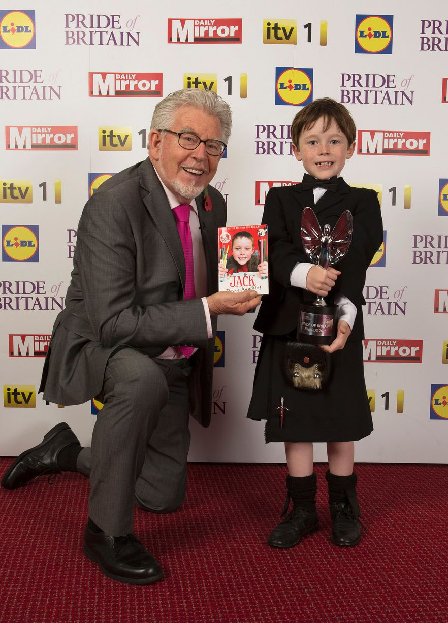 Rolf Harris with young fundraiser Jack Henderson