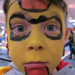 Jack face painted as Iron Man