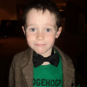 Jack ready to go at an Awards ceremony in his Doctor Who jacket, bowtie and hedgehog t–shirt