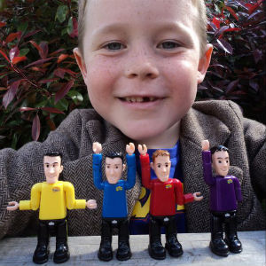 Jack with The Wiggles action figures when he launched his Meet the Wiggles drawing competition