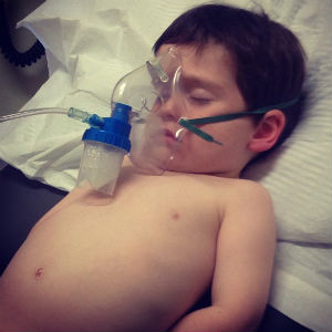 Jack's wee brother Noah on oxygen