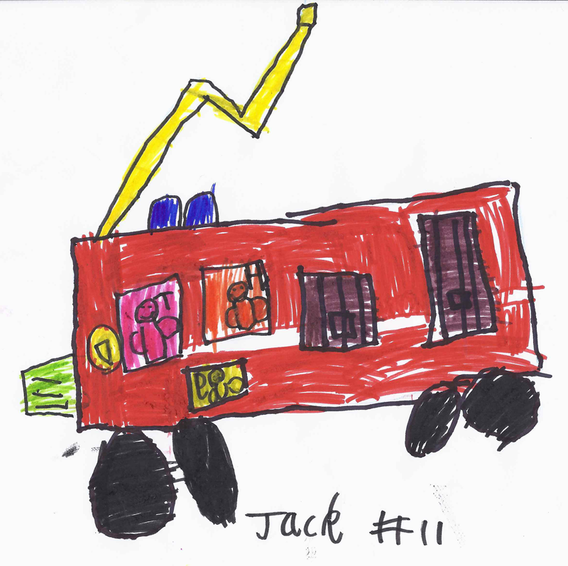 A fire engine, with Harry, Toby & George in it for Harry Barron