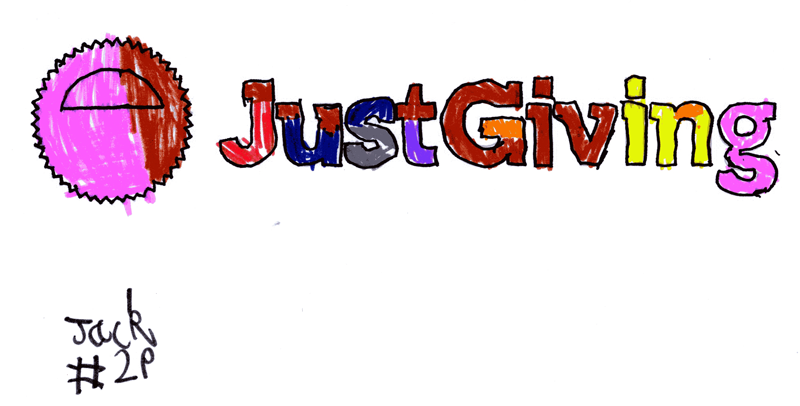JustGiving logo, drawn in and around for Jack Sheldon (JustGiving)