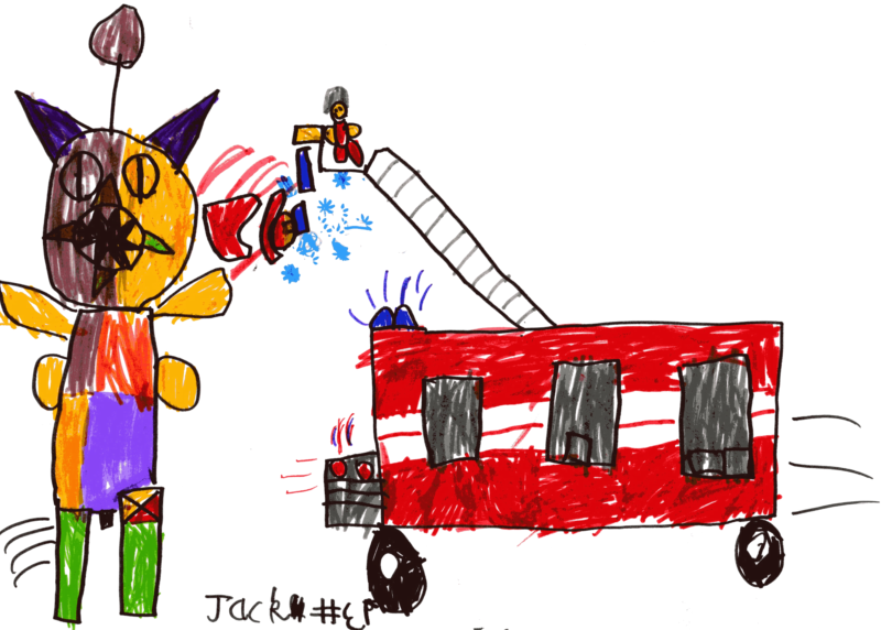 Uncle Johnny up the ladders on his fire engine fighting a fire breathing dragon for Auntie Kirstie, Uncle Johnny, Sam and Libby