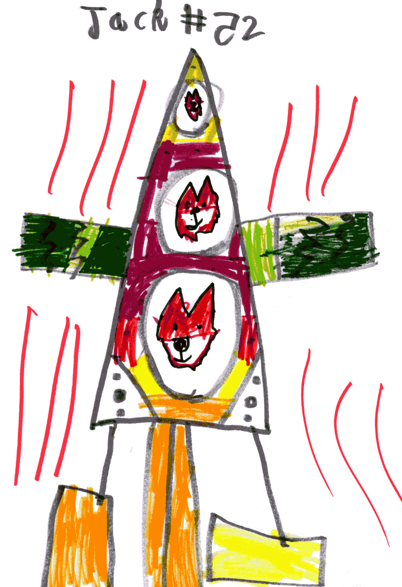 Space rocket with three windows with a fox looking out each window for Maarit Mäenpää