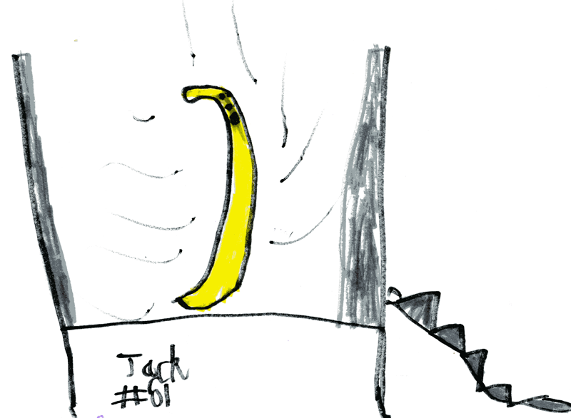 Banana on a trampoline for Liz Monaghan