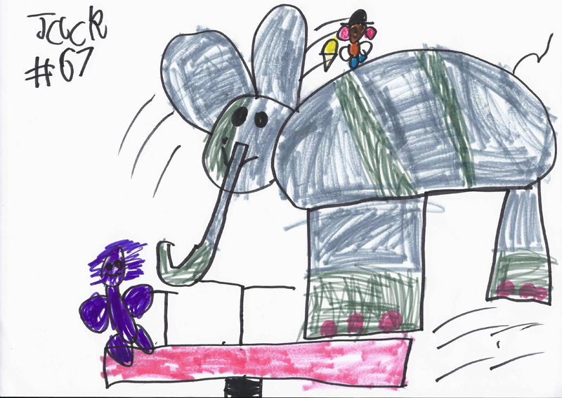 Mr Potato Head riding an Elephant, eating banana ice cream on a seesaw with a purple gorilla for Richie Gilbert