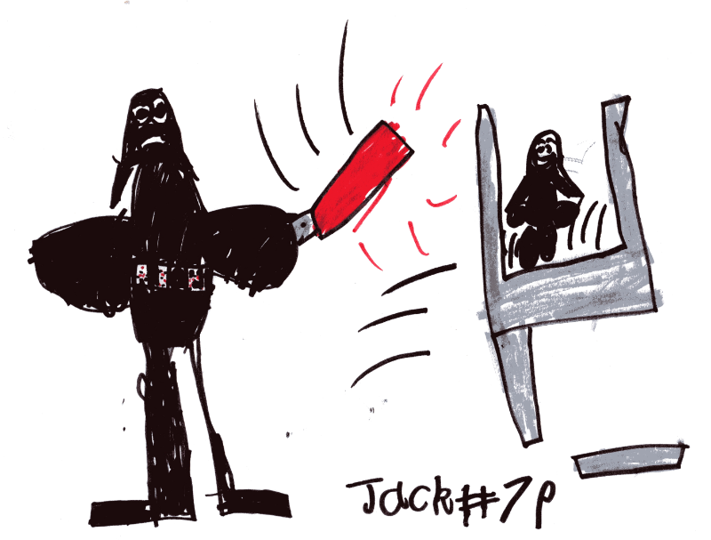 Darth Vader chopping up the trampoline with his red lightsaber for Steven Paterson