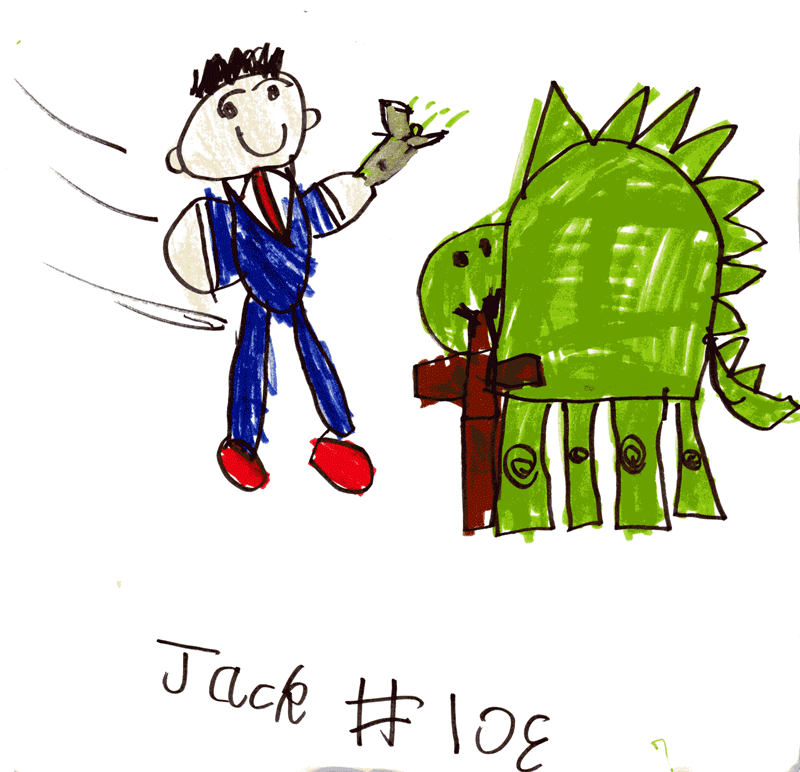 Doctor Who (Tenth Doctor aka David Tennant) being chased by a dinosaur (it's actually eating his coat) for Dave Woodley