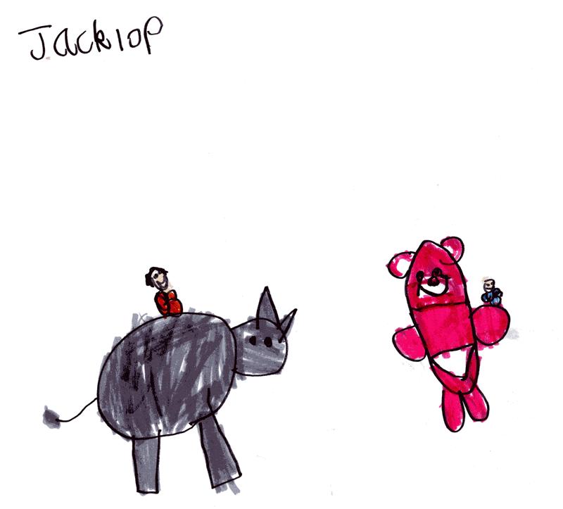 Toby & Noah riding Lots-O'-Huggin' Bear (Lotso) & Rhino for Toby (Jack's little brother)