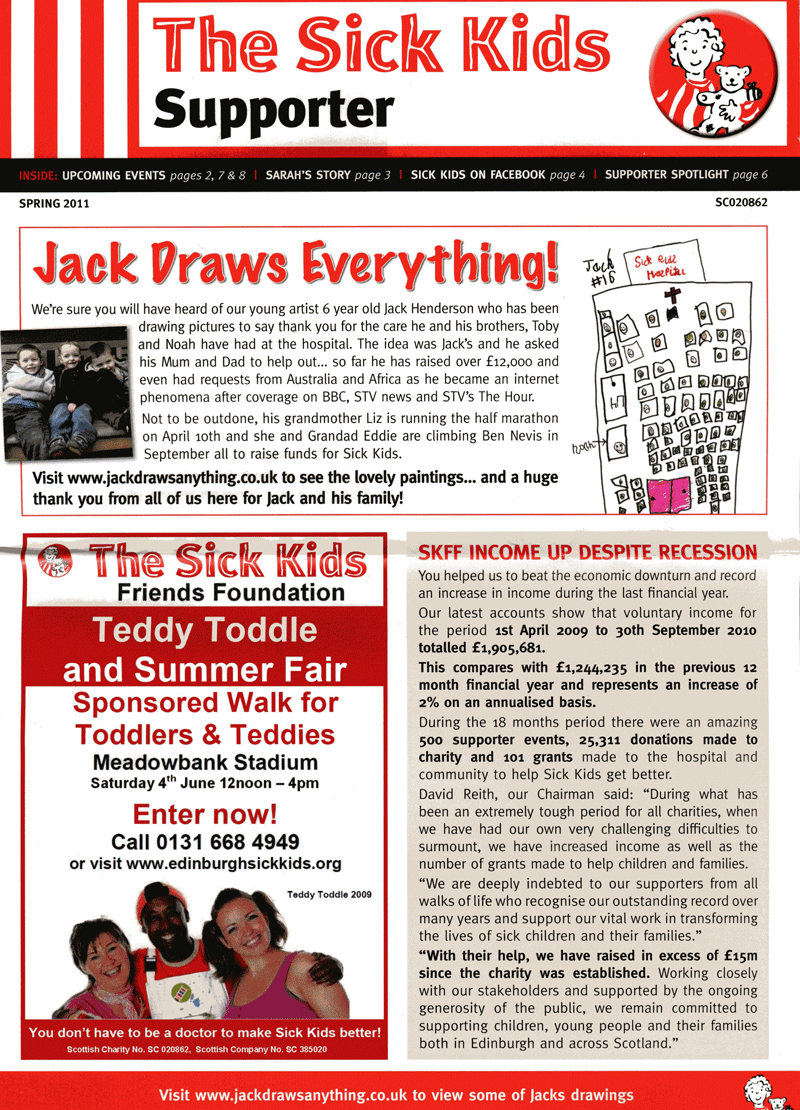 Jack makes the front cover of the Sick Kids Supporter newsletter, Spring 2011