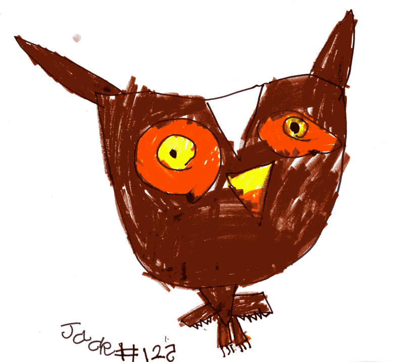 Owl with giant head and tiny body for Elisa Begg
