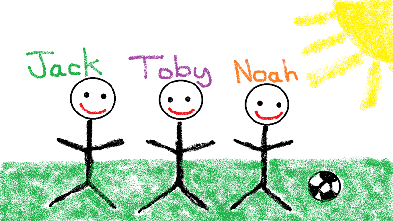 Someone drew me a picture–Jack, Toby & Noah playing football