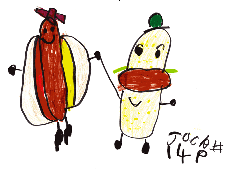 Hamburger Man and Hotdog Lady on a date for Scot Carlson