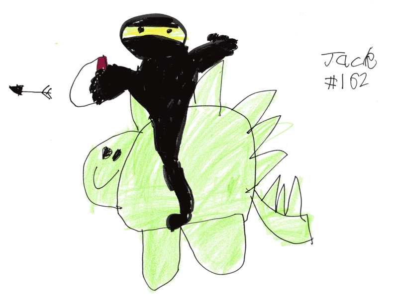 Ninja (with added crossbow) riding on a Dinosaur for Douglas Sutherland