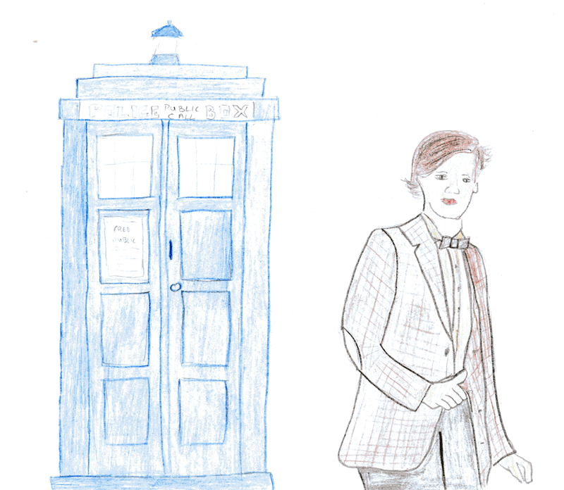 Someone drew me a picture–Doctor Who (Matt Smith) & the TARDIS