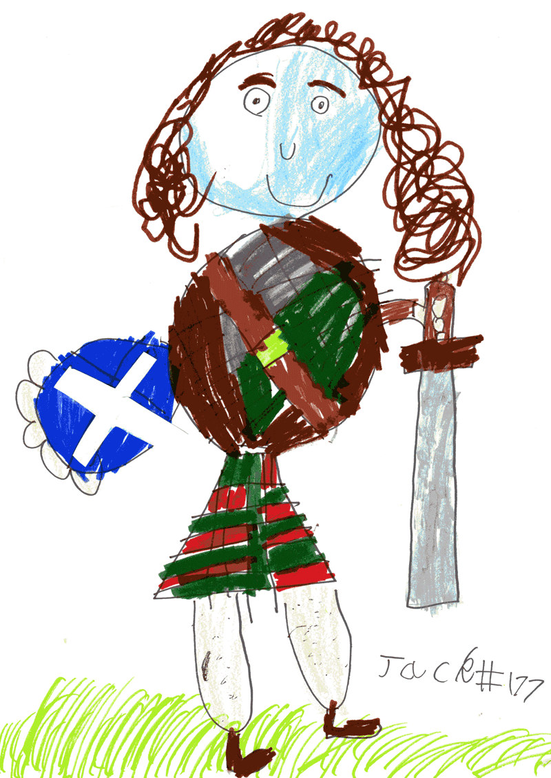Scottish Highlander with a sword and shield for Ian Murdoch (The Clann)