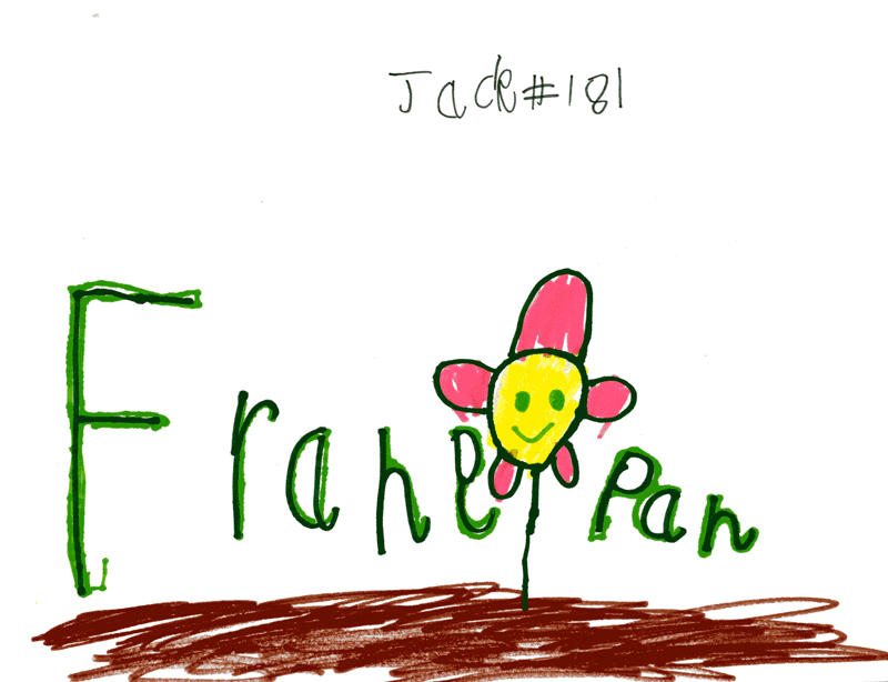 The word 'Frangipan' with a 5 petal flower for Francesca