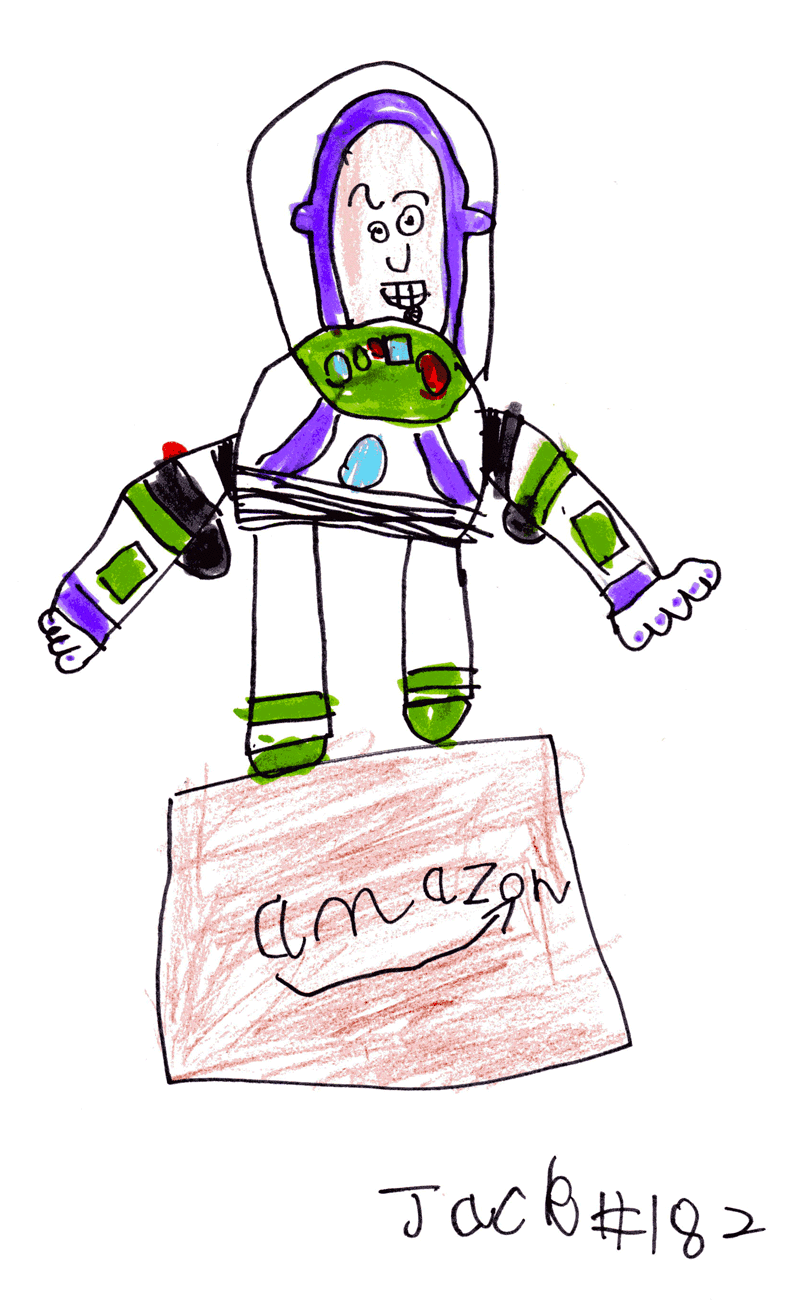 Buzz Lightyear and a brown Amazon box for Mark Zieg