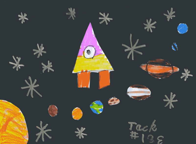 Me flying through space in a rocket ship with stars and planets for Steve Wilson