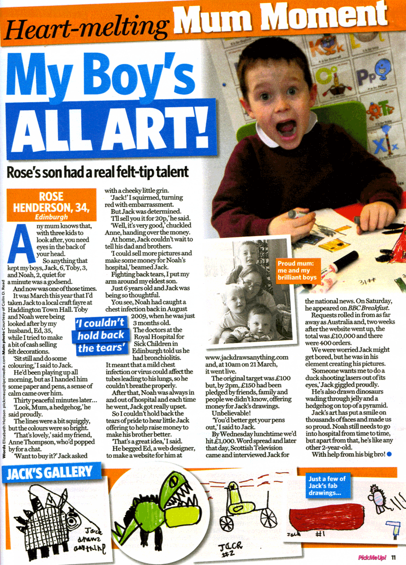 Heart-melting Mum Moment–My Boy's ALL ART (Rose's story in Pick Me Up magazine)