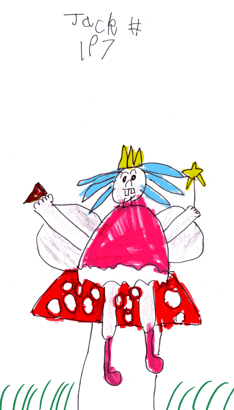 Big fairy with big wings sitting on a toadstool wearing welly boots and eating cake for Evelyn Smith