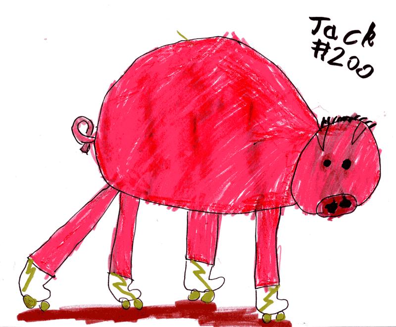 Pig on rollerskates for Jamie Vickery