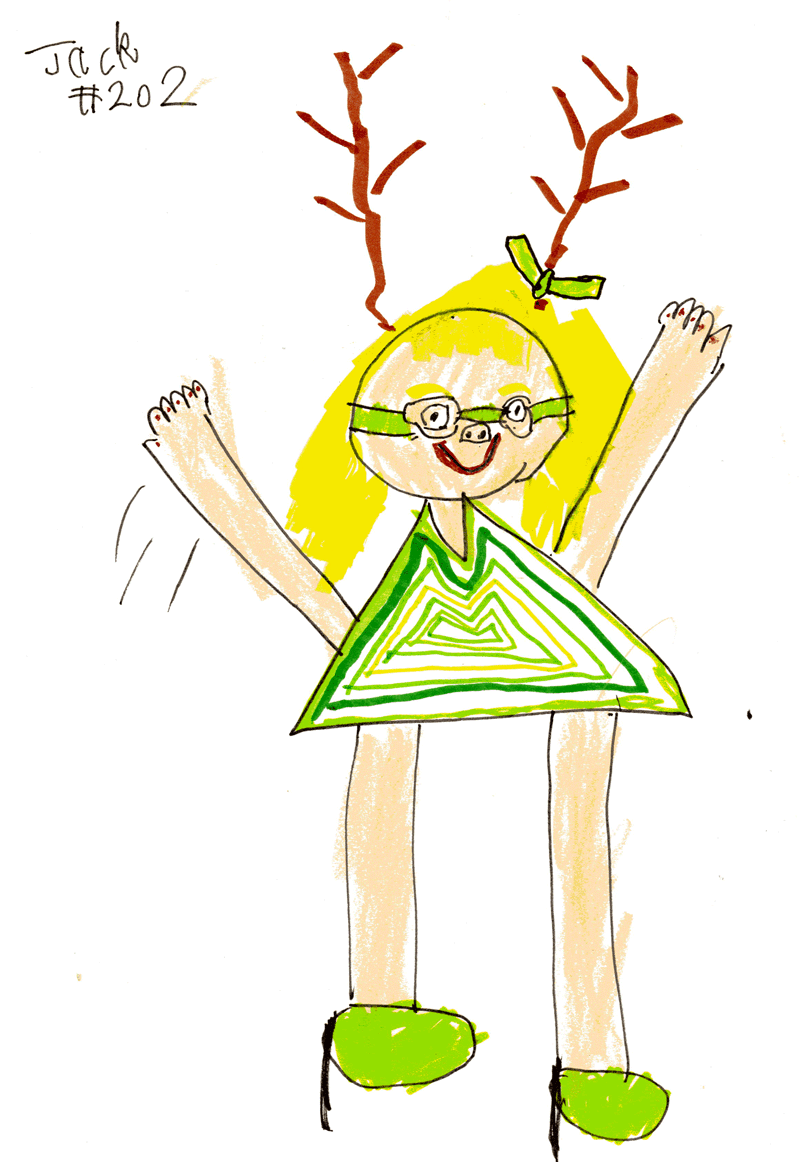 Girl with antlers wearing a green dress for Laura Simms