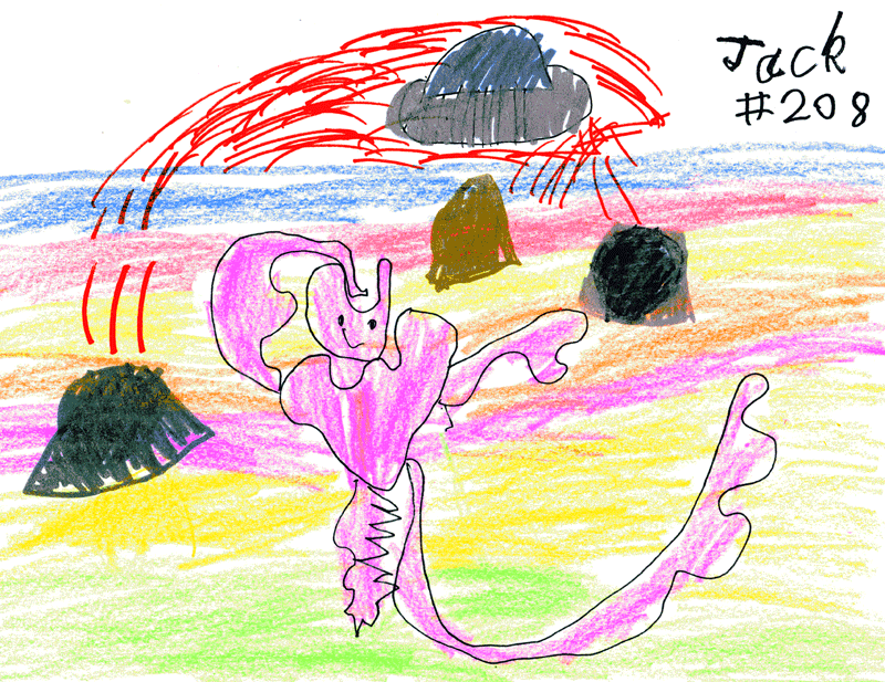 Pink alien with spaceship (with added landscape & lava spewing volcanoes) for Sara Hazeldine