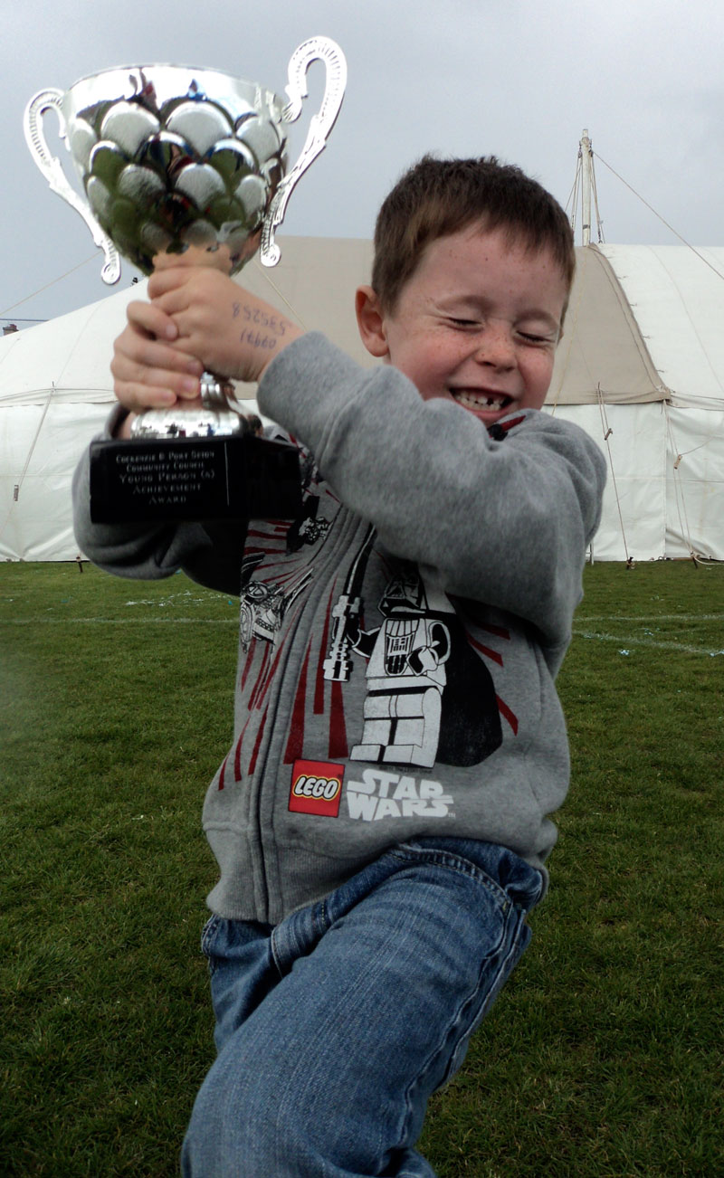 Jack wins local Young Person Achievement Award (trophy time)