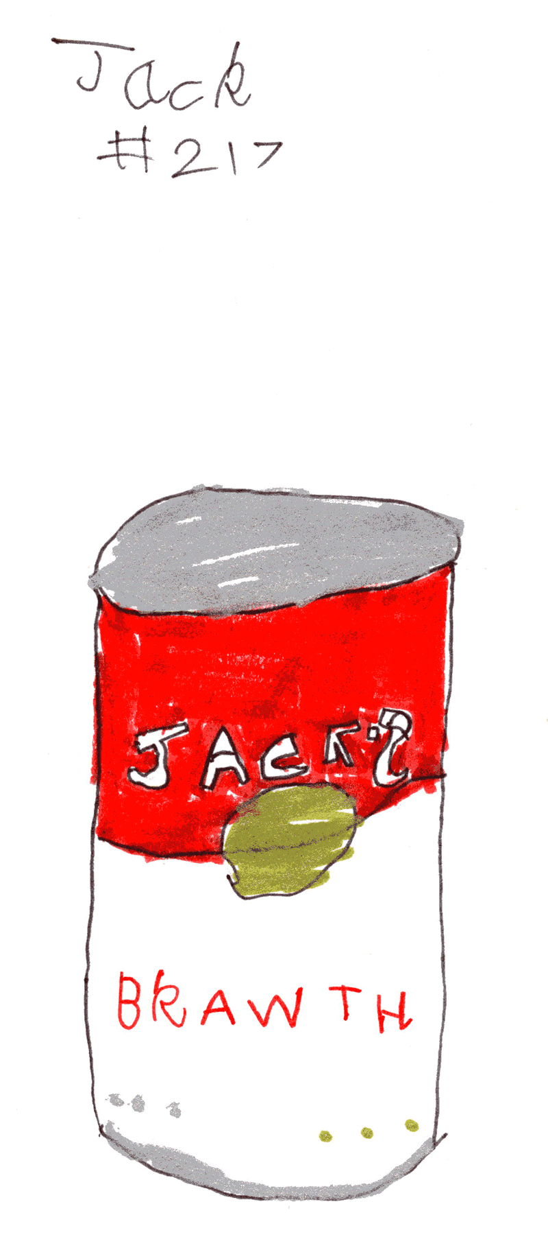 Tin of soup with the word Brawth on it for Francis Macneil