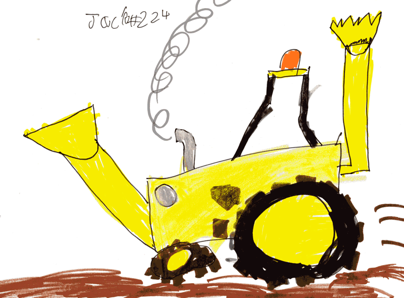 Digger stuck in the mud (based on Scoop from Bob The Builder) for Rachel McNicol's son