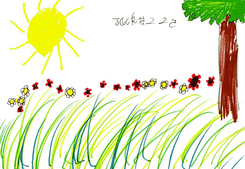 Field with poppies, daisies, tree & shining sun for Emma, Neil, Jamie & Sorcha Gordon