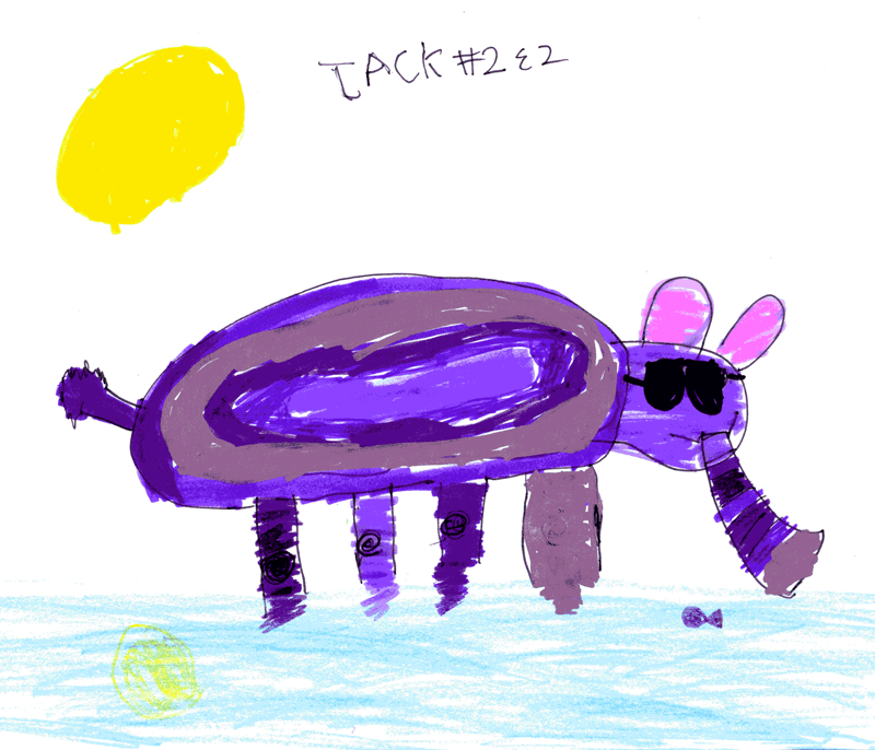 Purple elephant, paddling in the sea wearing his sunglasses (with bonus sunburnt ears) for Lyndsey Keeley