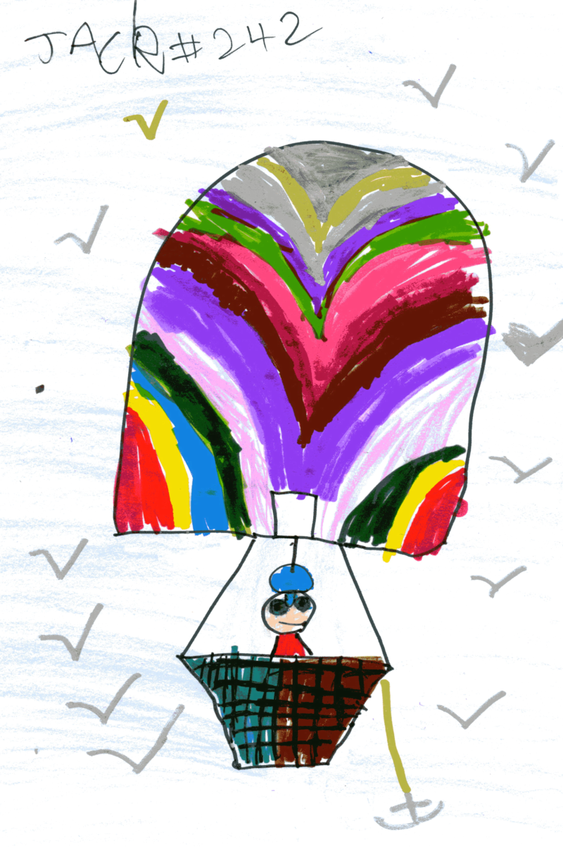 Jack in a big fat colourful hot air balloon for Voula Kokkali