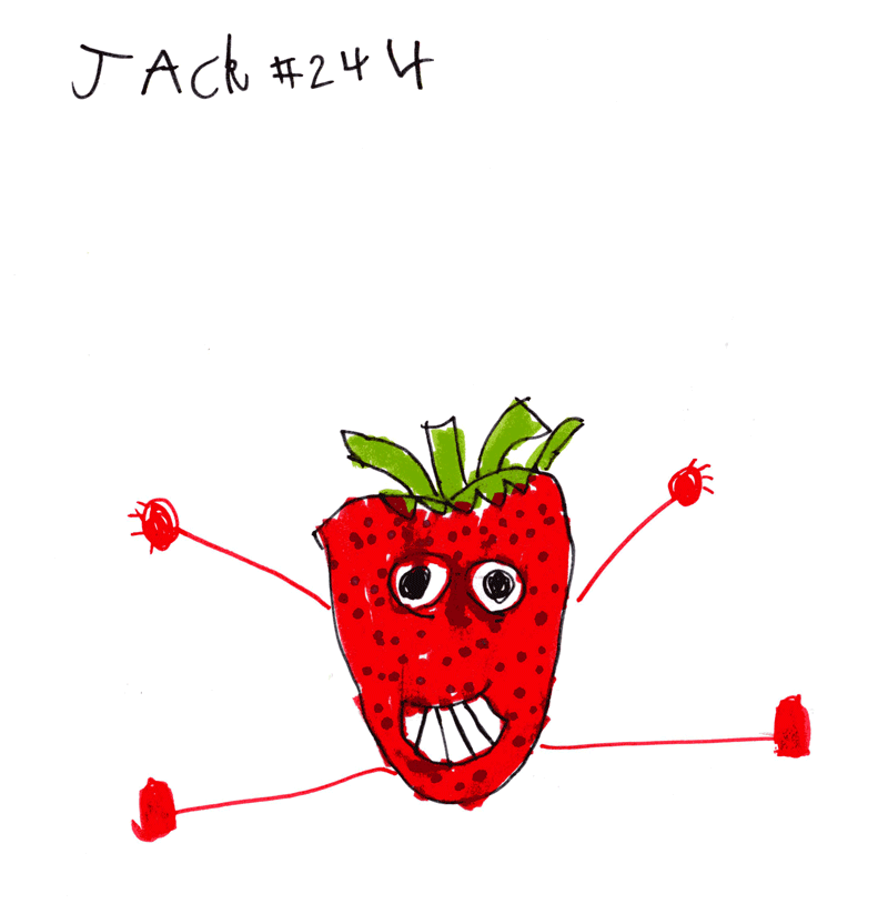 Dancing Strawberry (doing the splits) for Chris & Kerryann