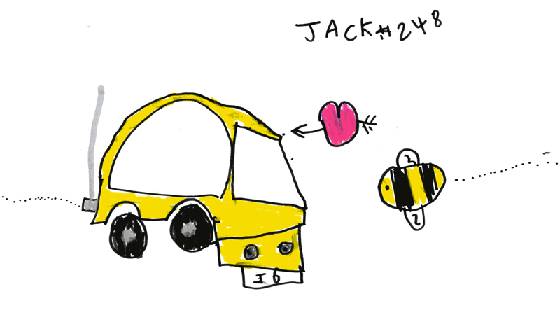 Victor, my small bright yellow car (has fallen in love with a bee) for Sally French