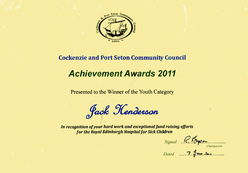 Jack's certificate for winning Cockenzie & Port Seton Young Person Achievement Award 2011