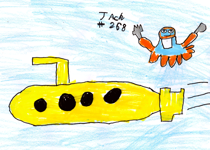 Blue & orange Octopus eating a yellow submarine for Lisa Bassett