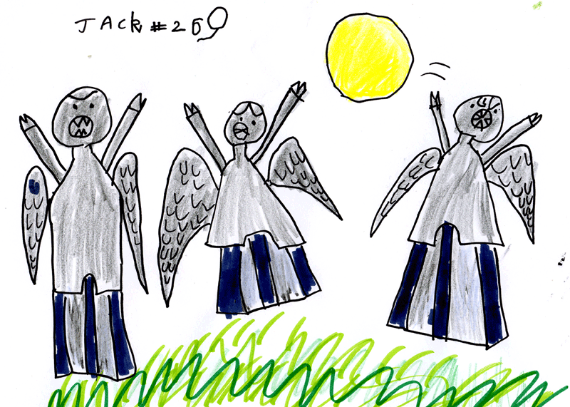 Weeping Angels (from Doctor Who) playing catch with the Sun for Janet King