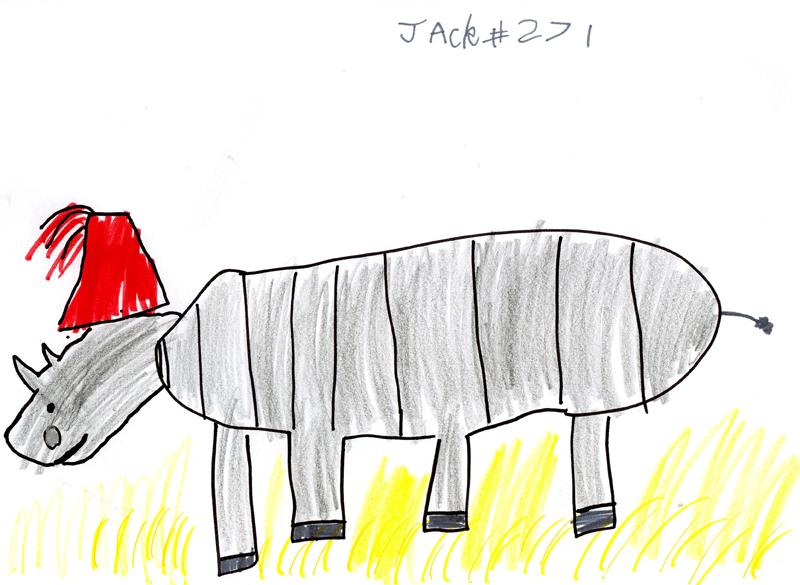 Rhino wearing a fez for Ian MacPherson