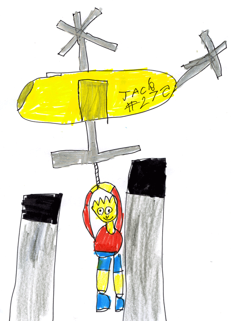 Bart Simpson being airlifted from the top of Cockenzie Power Station by a helicopter for Nancy Patterson