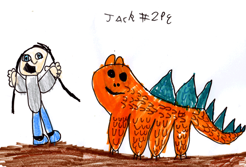Little girl with an orange dragon for Gill Vickery