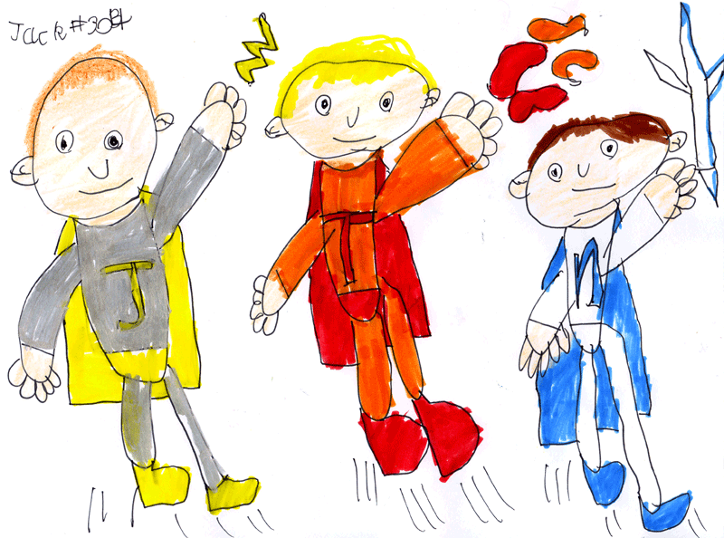 Jack & his brothers as superheroes (aka ThunderJack, LavaToby & Snowah) for Billie Hutchison