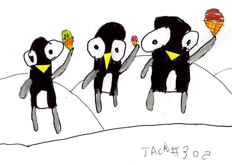 Penguins eating ice cream for Stephanie