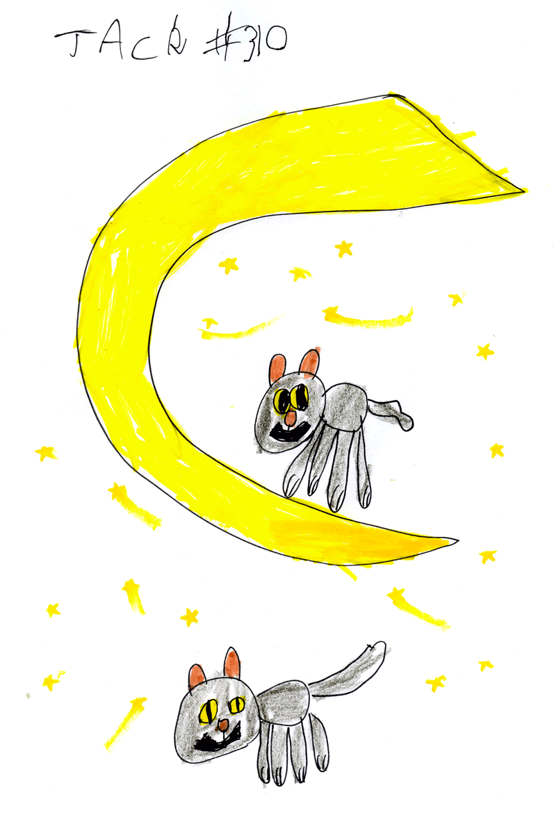 2 black cats under a yellow crescent moon for Emma McGeorge