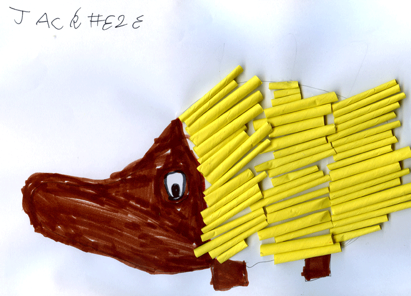 Something that makes you excited (hedgehog made from straw) for Gayle Sutherland