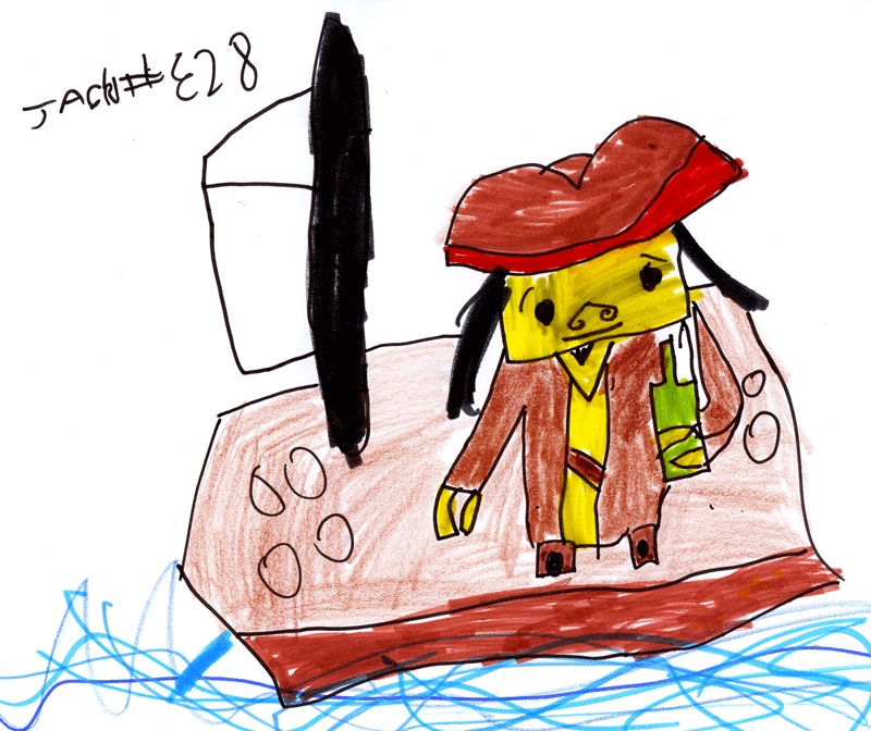 Lego Captain Jack Sparrow on his little sailing boat for Craig Young