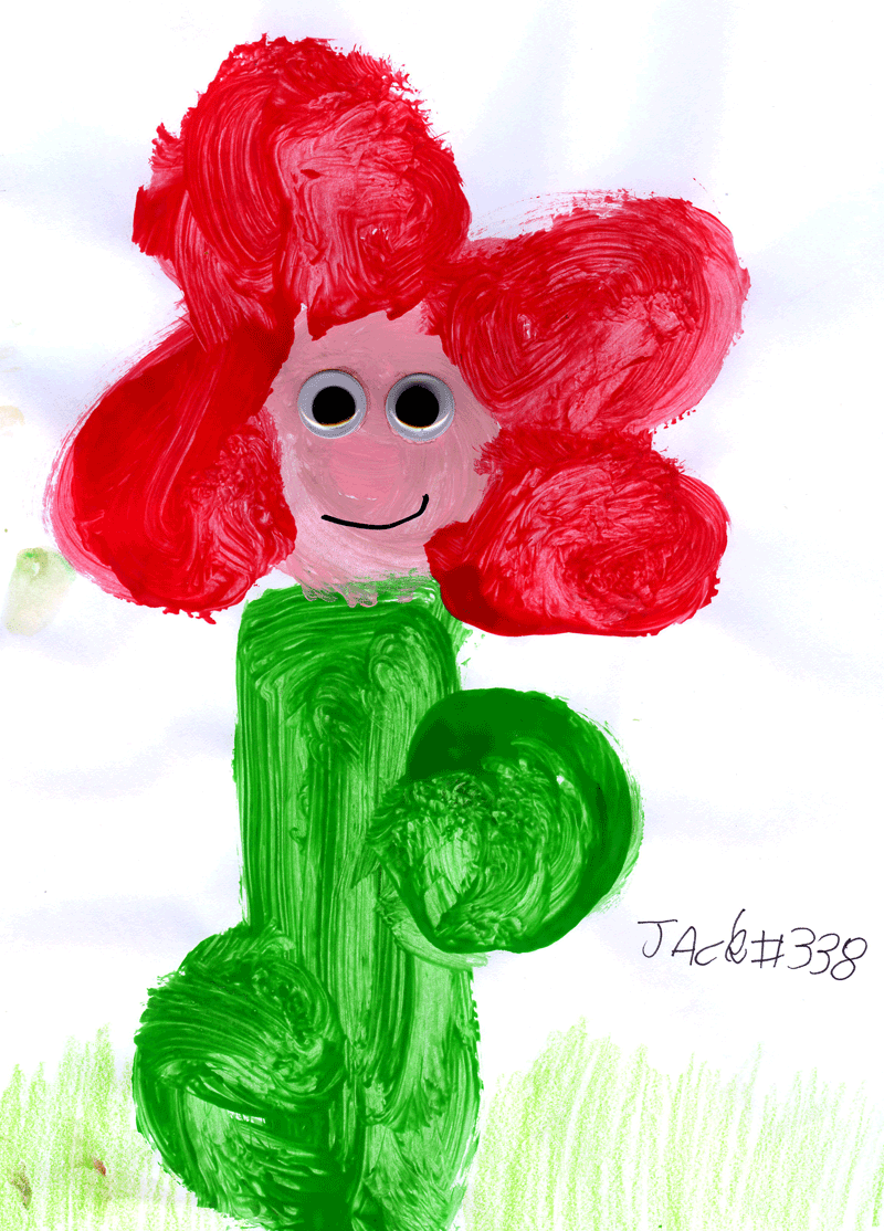 Big red smiley flower for Leanne Bland's red kitchen